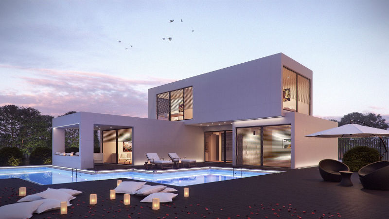 squared luxury house with pool at sundset